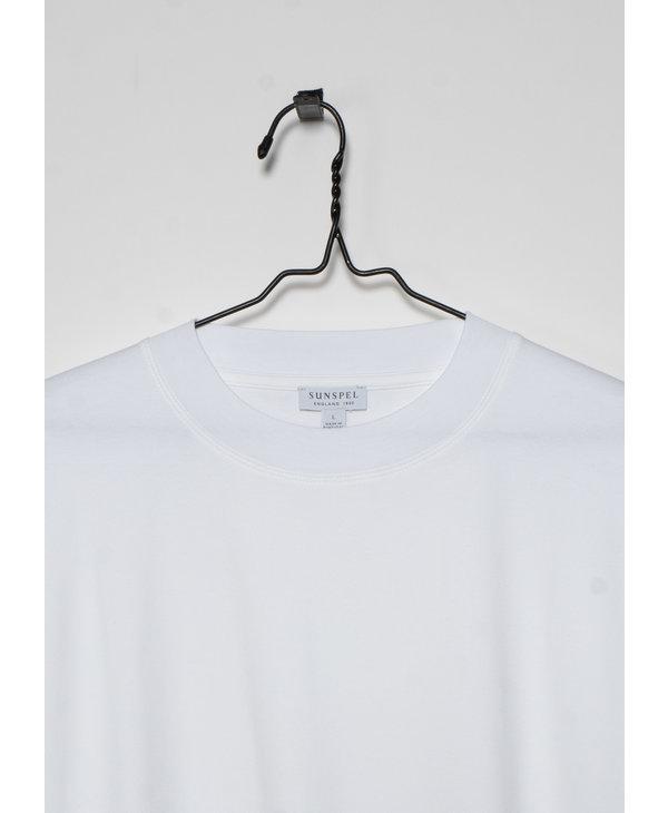 T-shirt à Col Montant en Coton Brossé Blanc