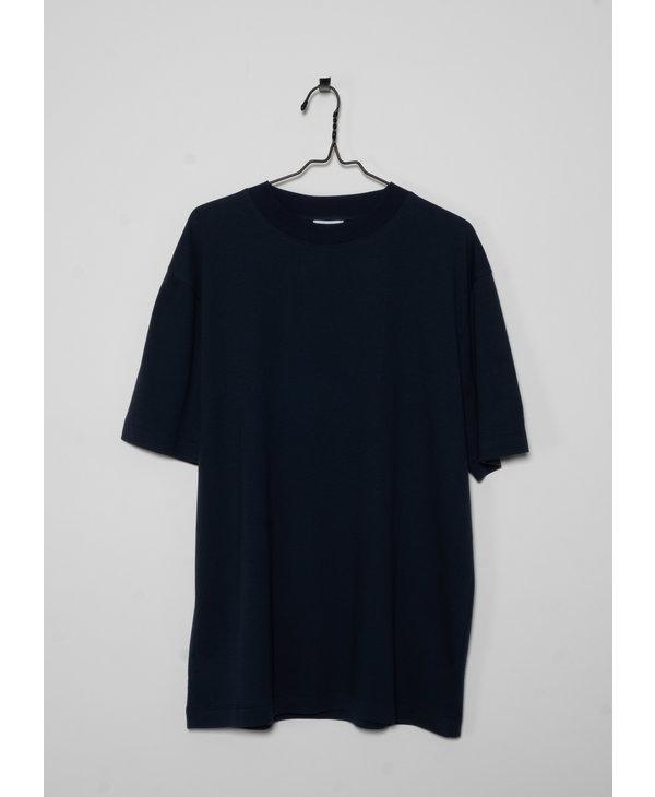 T-shirt à Col Montant en Coton Brossé Bleu Marine