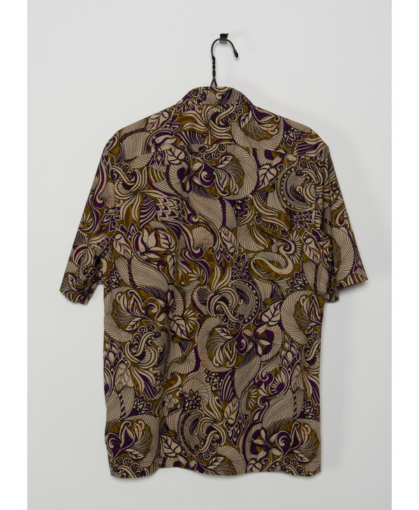Chemise à manches courtes mauve et dorée