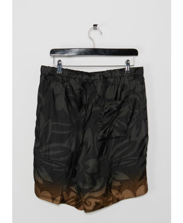 Black & Orange Floral Drawstring Shorts