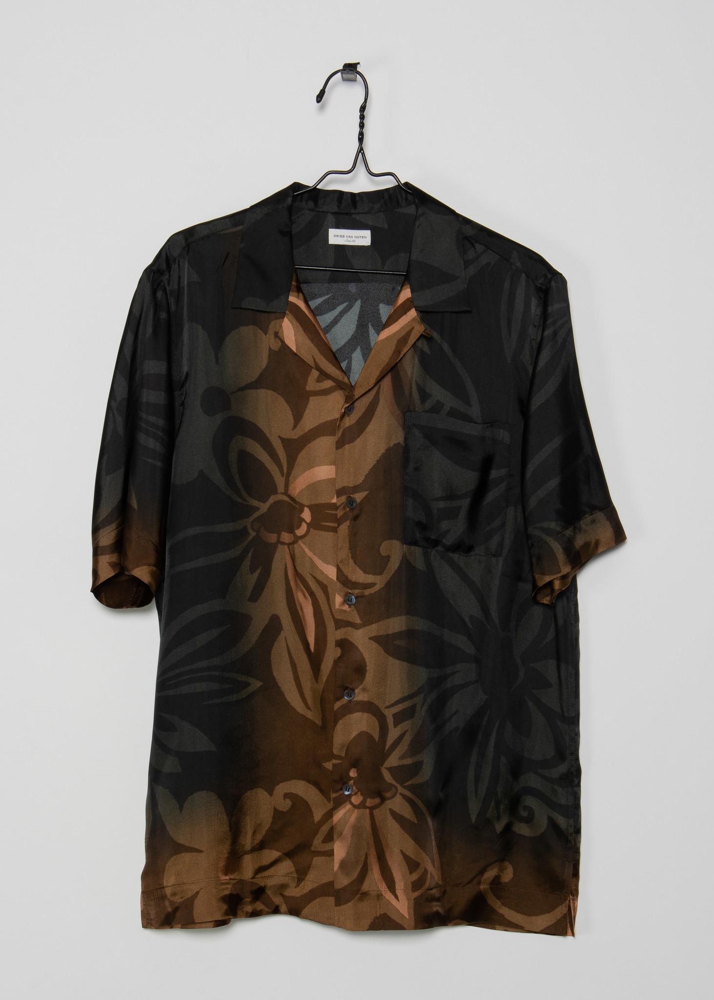 Black & Orange Floral Satin Shirt