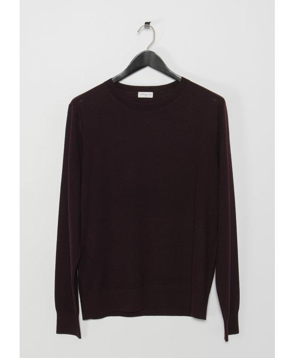 Burgundy Long Sleeves Merino Knit