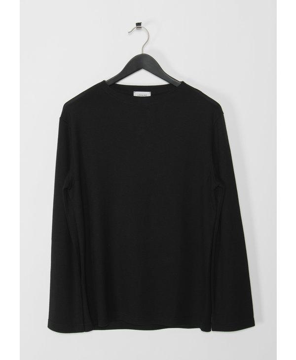 T-Shirt Noir Feutré à Manches Longues