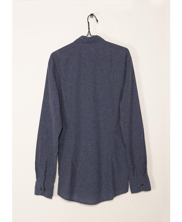 Chemise Bleue en Coton et Lin