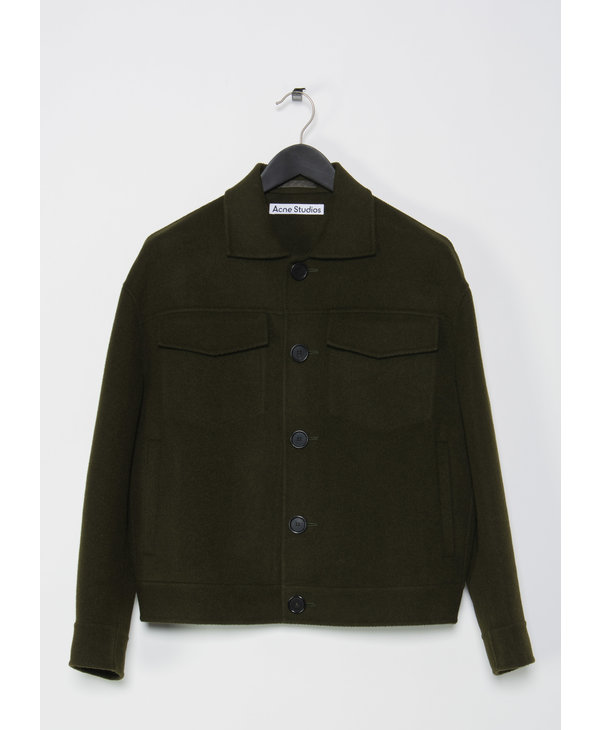 Dark Green Dagnite Twill Double Coat