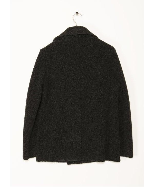 Grey Bouclé Wool Peacoat