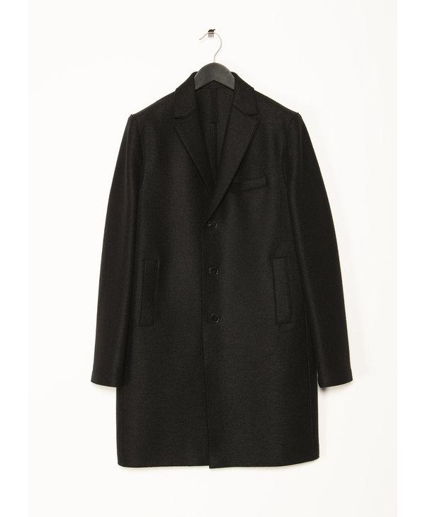 Black Pressed Wool Coat