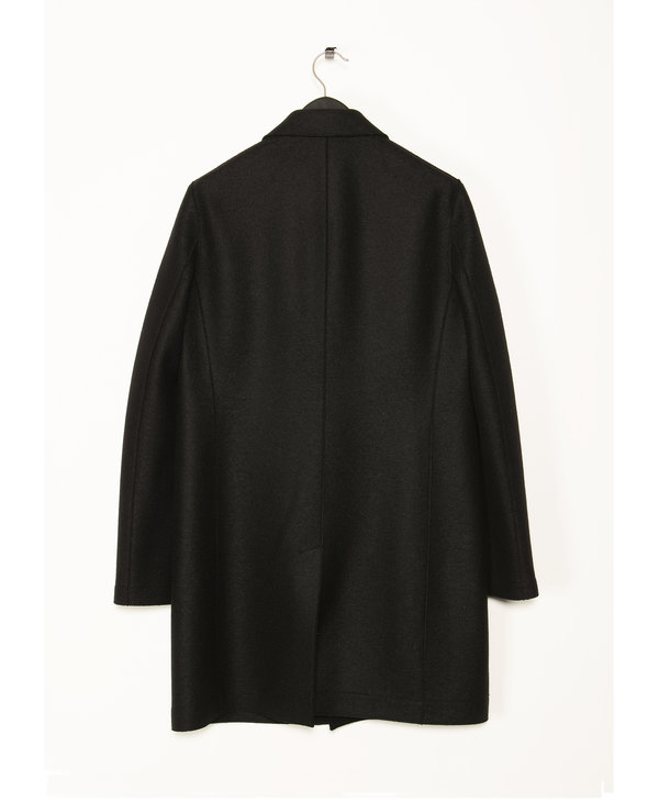 Manteau de Laine Pressée Noir