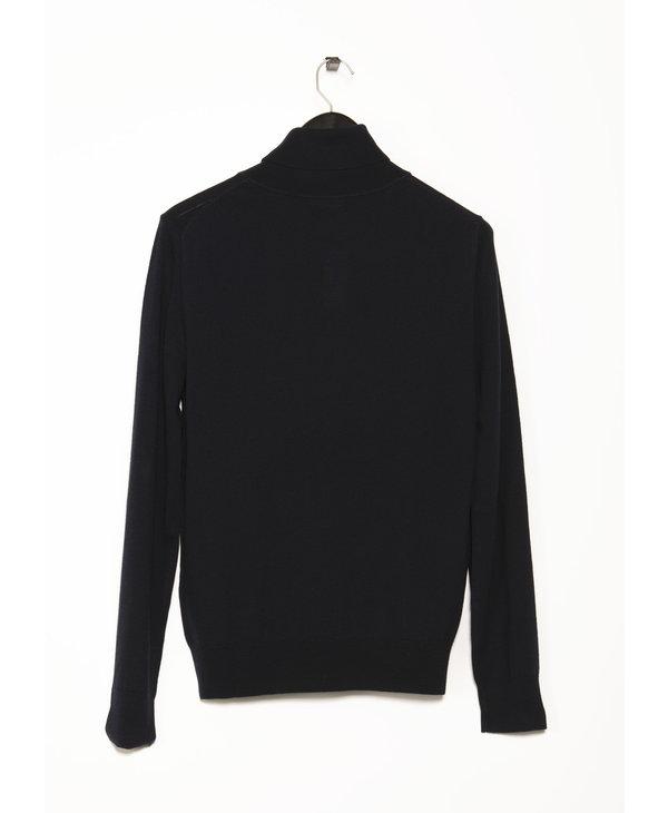 Navy Merino Roller Neck Sweater