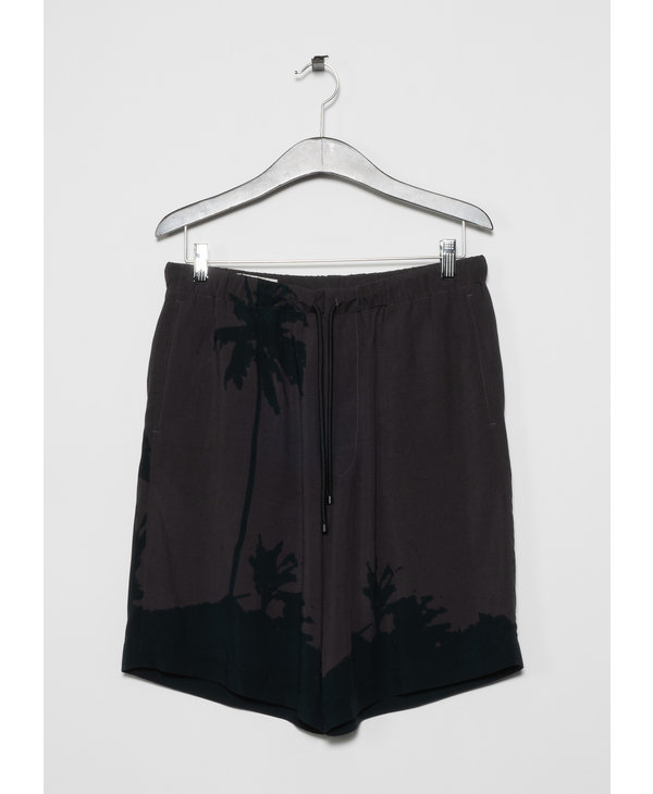 Grey Short with Palm Tree Print