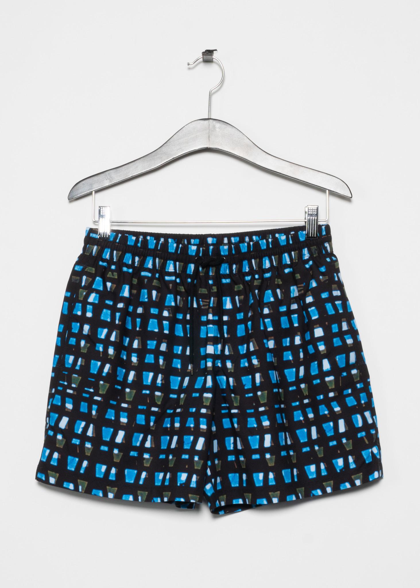Black and Blue Print Swim Short