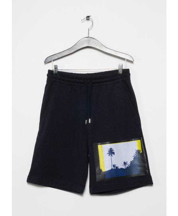 Blue Palm Tree Print Cotton Shorts