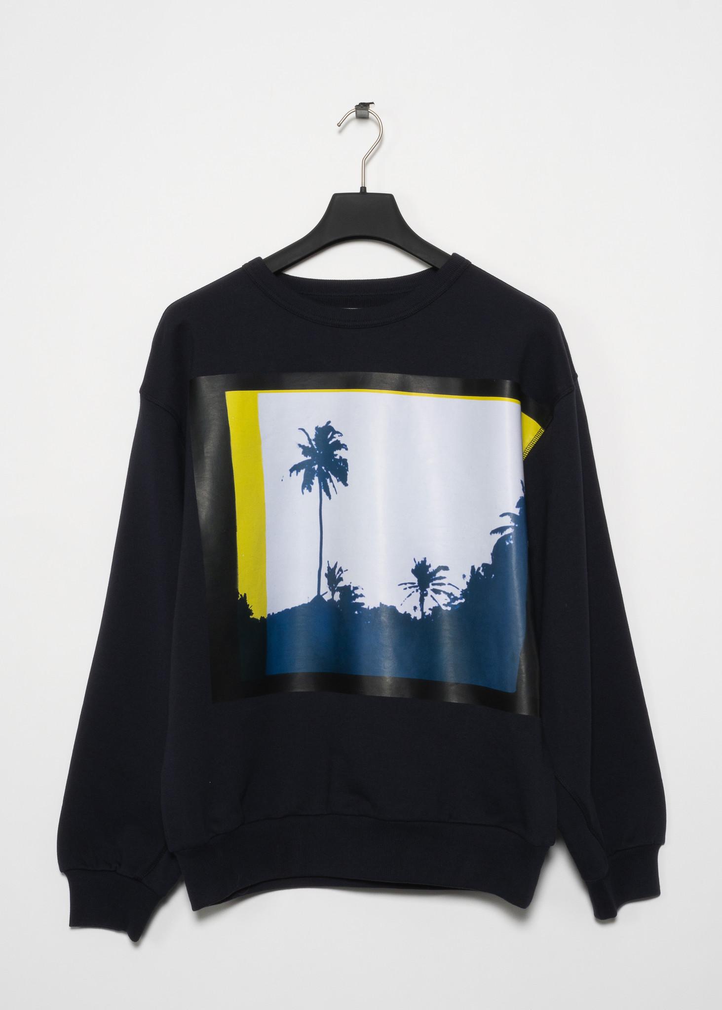 Navy Crewneck Sweater with Palm Tree Pattern
