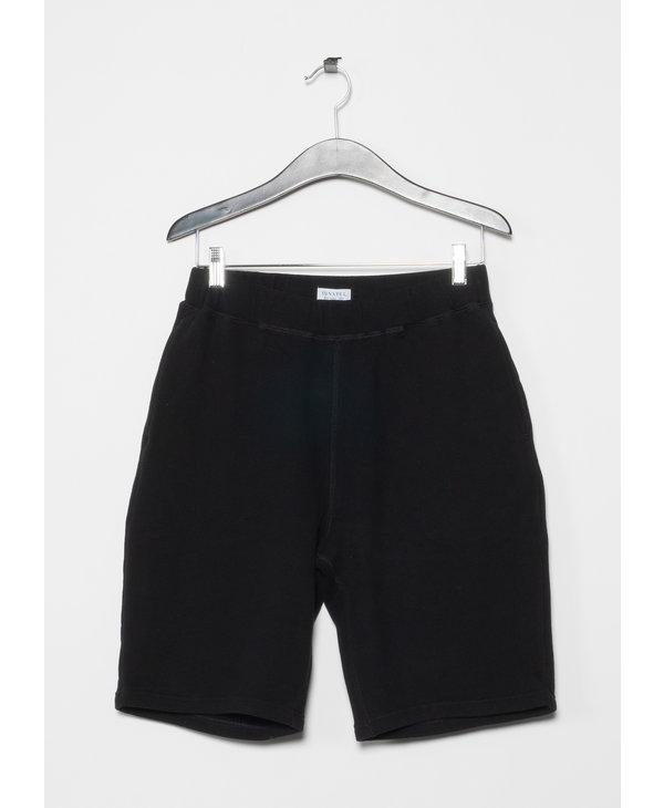 Black Cotton Loopback Shorts