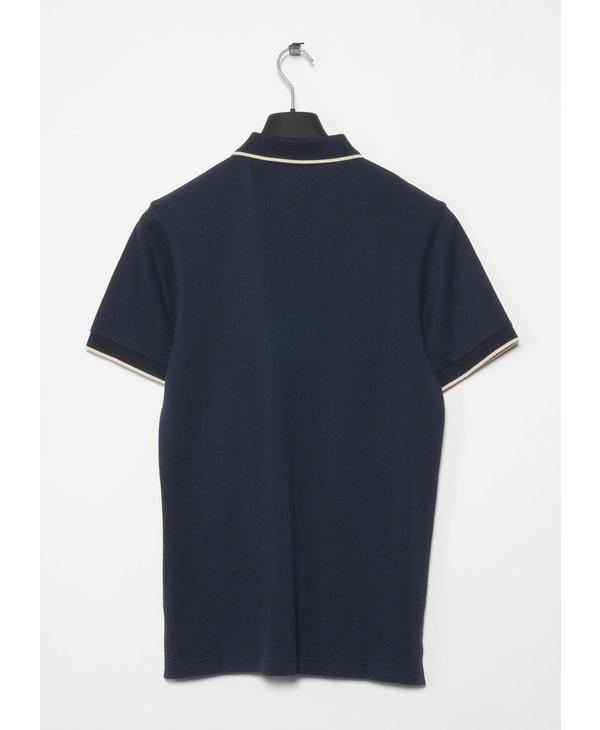 Navy Piqué Contrast Tipped Polo Shirt