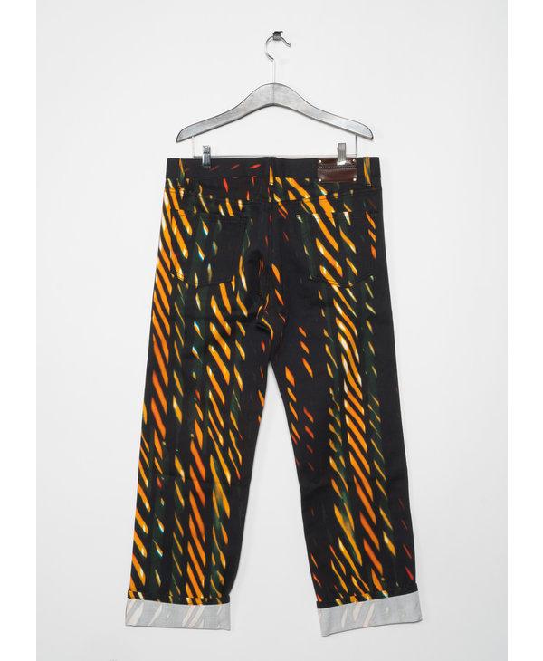 Orange Print Jeans