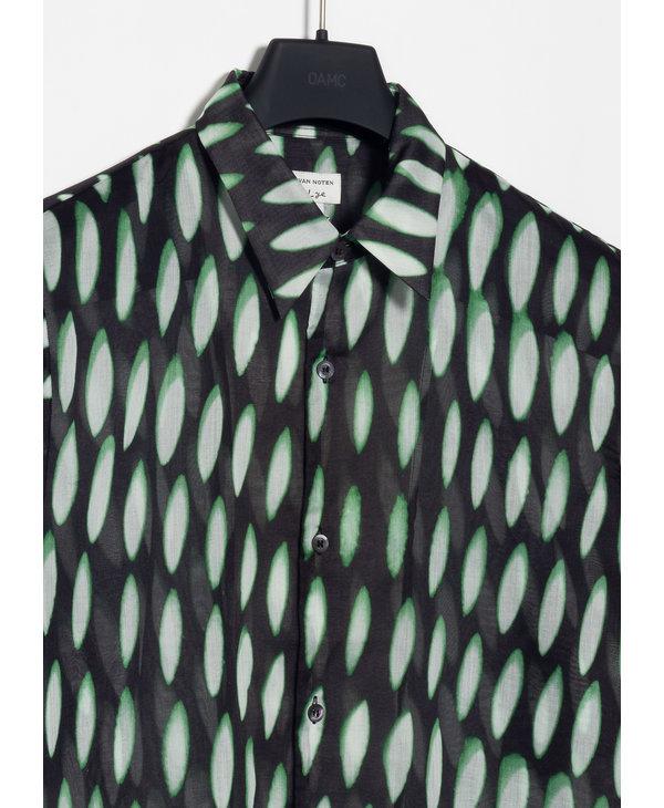Chemise à Imprimé Noir et Vert