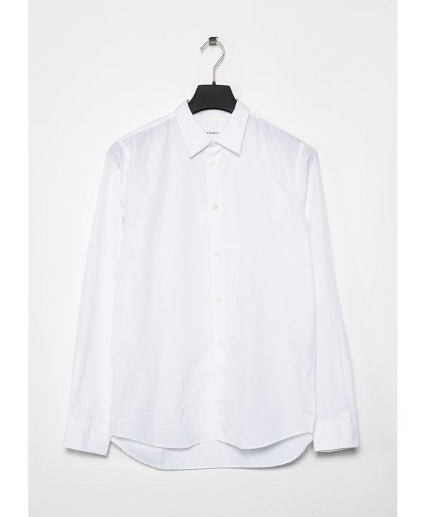 Chemise Classique Hans en Popeline de Coton Blanc