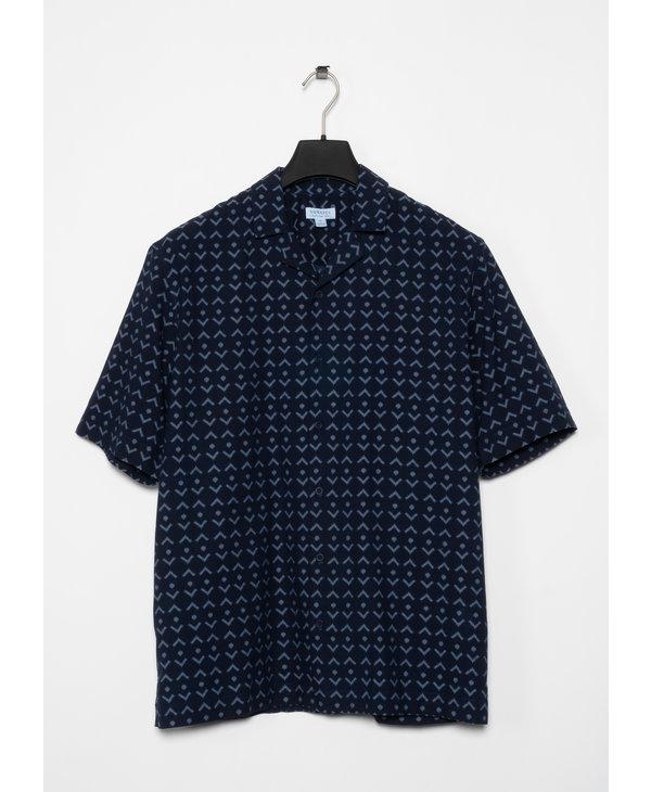 Navy Cotton Printed Short Sleeves Shirt