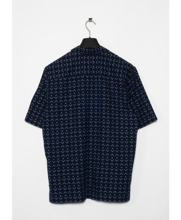 Chemise à Manches Courtes en Coton Imprimé Marine