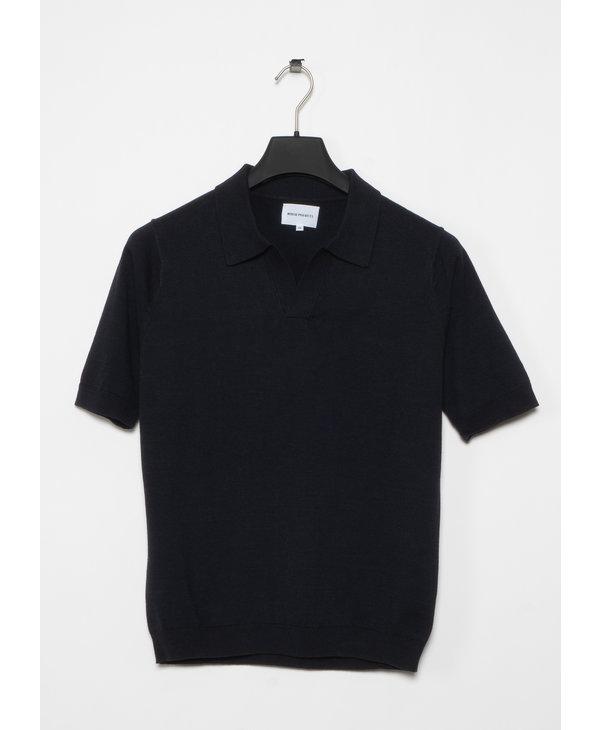 T-shirt Polo Leif Coton Lin Marine