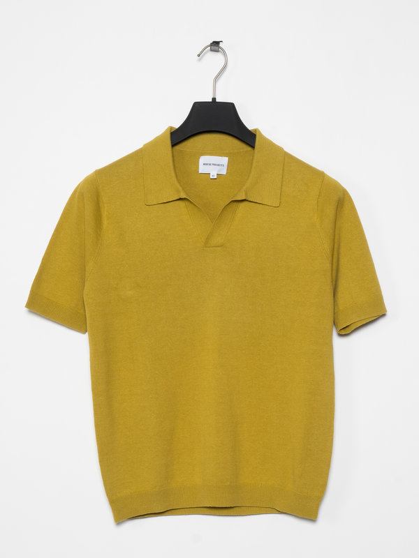 Norse Projects T-shirt Polo Leif Coton Lin Chartreuse