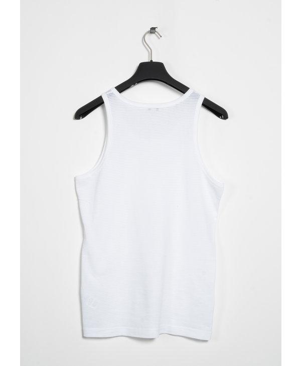 White Cellular Cotton Tank Top