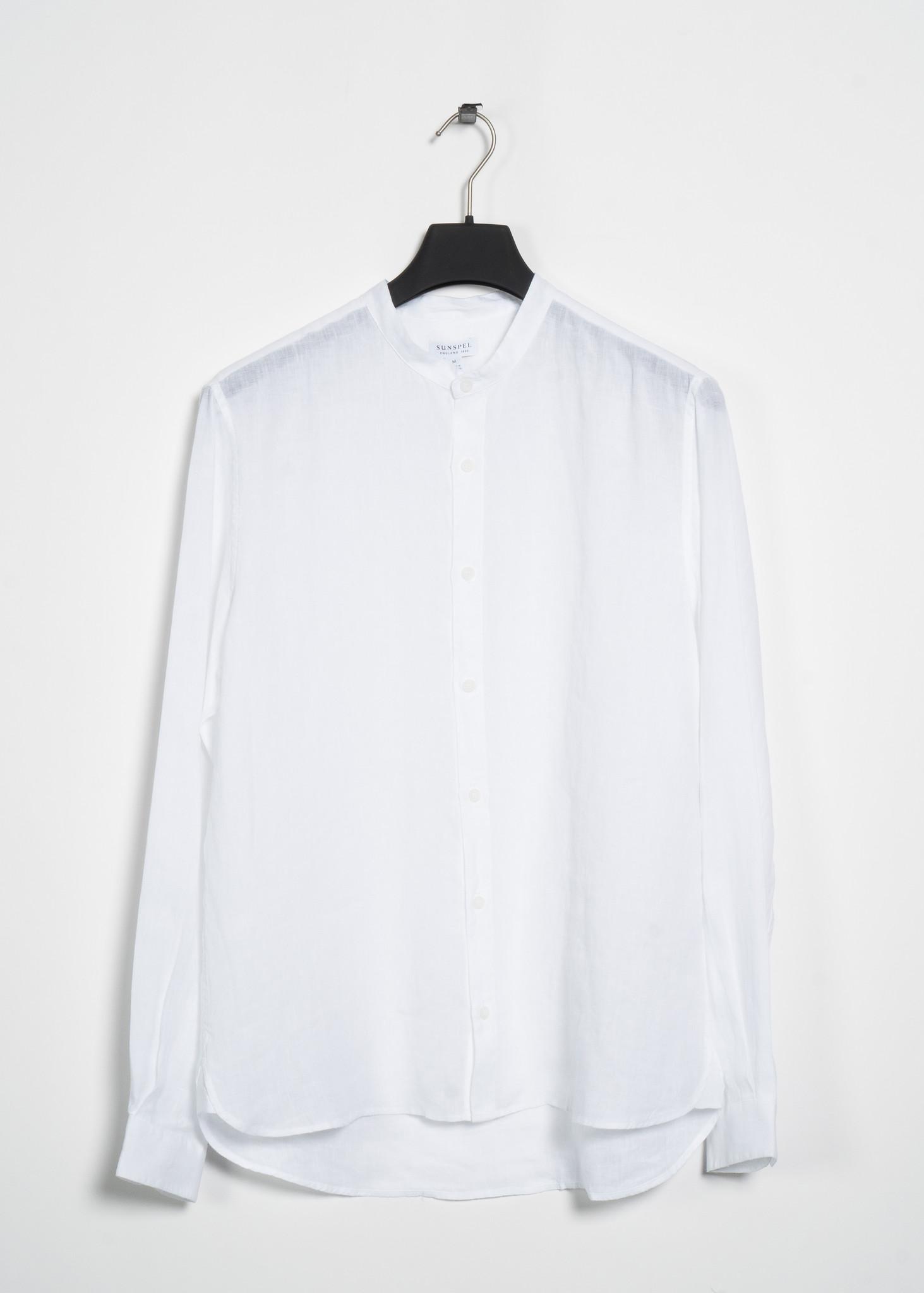 White Grandad Collar Linen Shirt