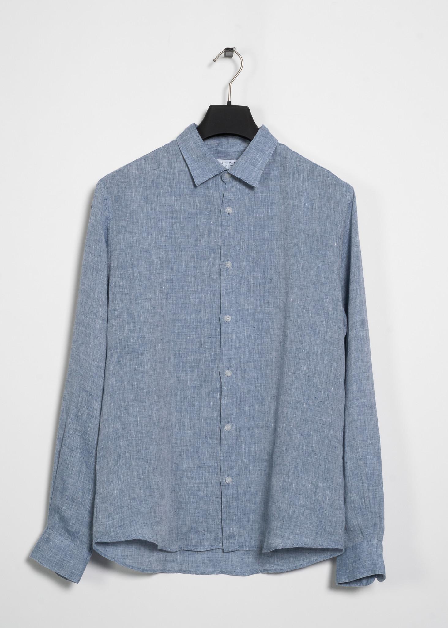 Blue Casual Linen Shirt