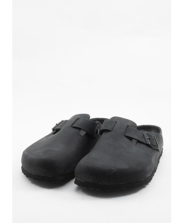 Black Boston Leather Clogs