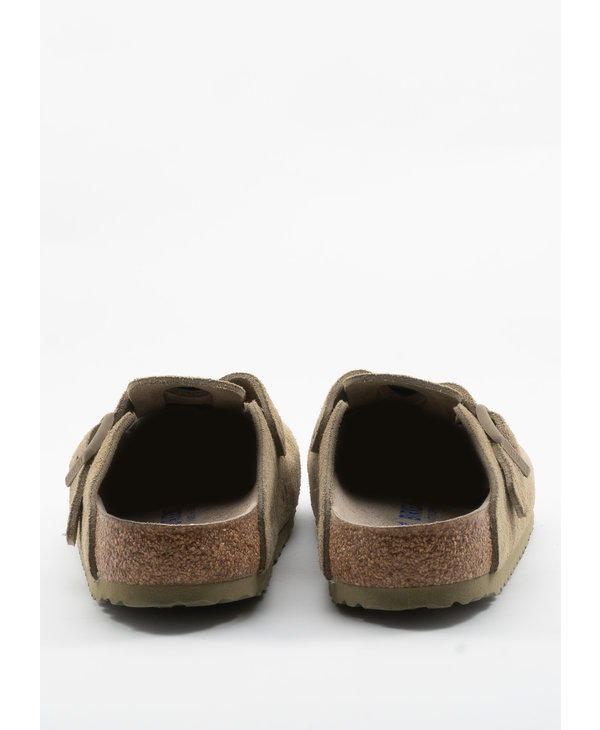 Khaki Boston Soft Footbed Suede Clogs