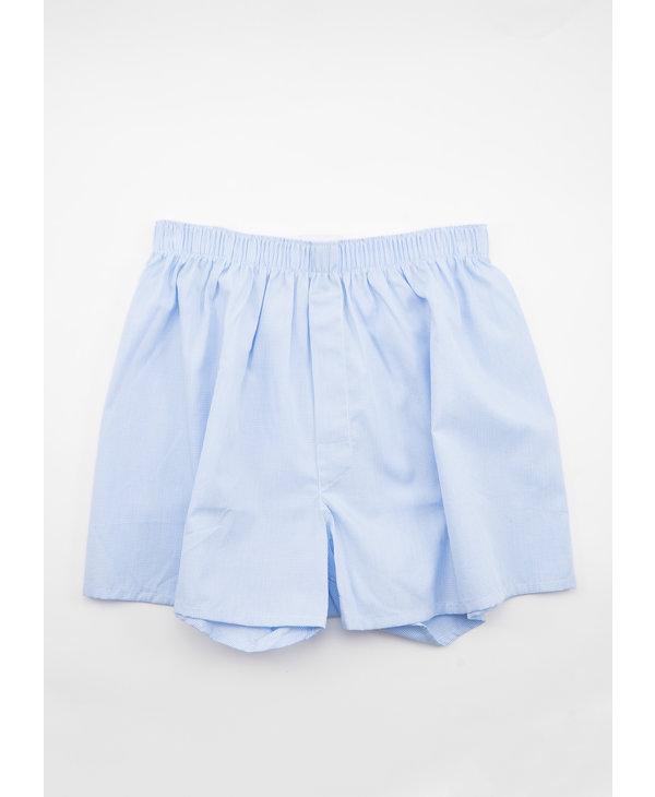 Boxer Short Micro Gingham Bleu et Blanc