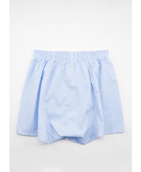 White & Blue Micro Gingham Boxer Short