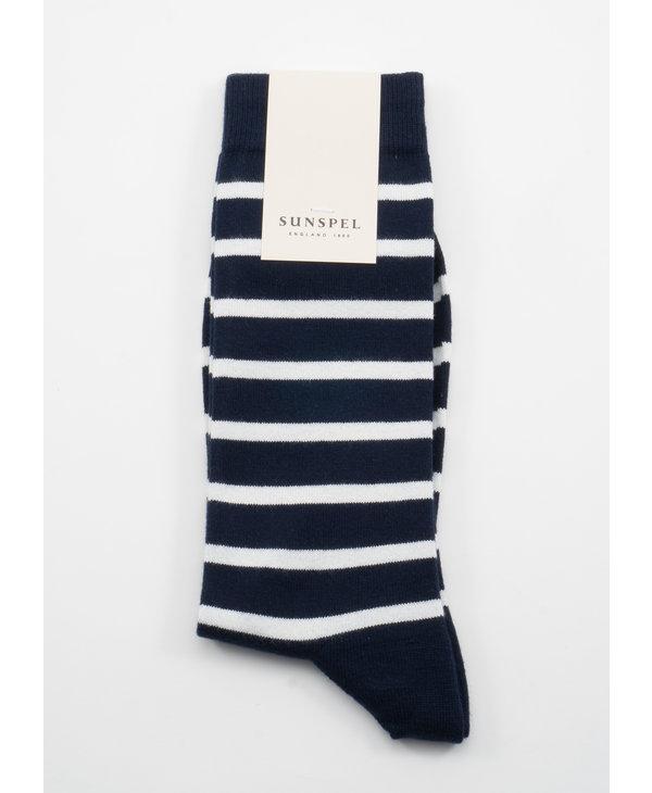 Chaussettes longues en Coton à rayures Breton Bleu Marine