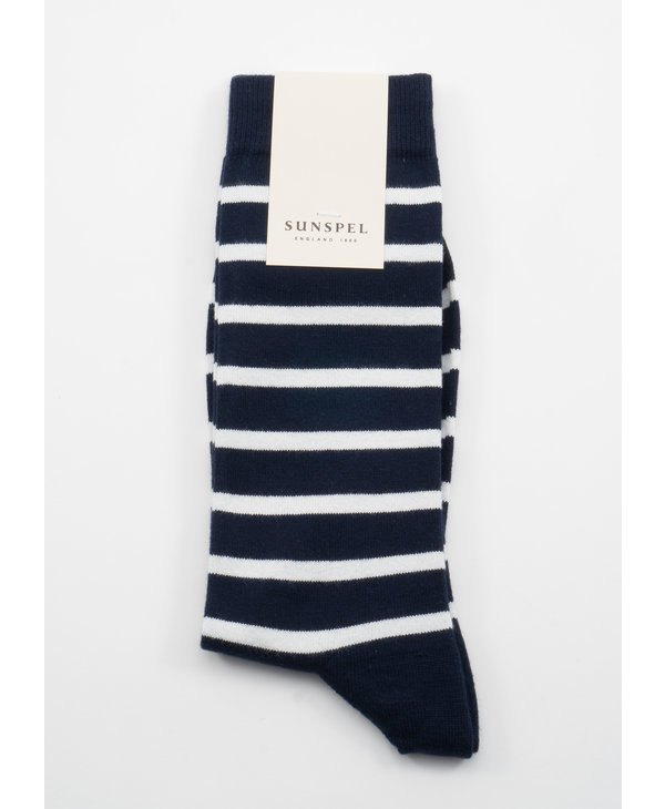 Navy Long Staple Cotton Breton Stripe socks