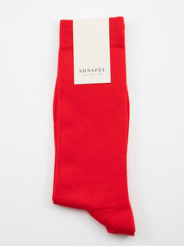 Sunspel Chaussettes longues en Coton Rouge