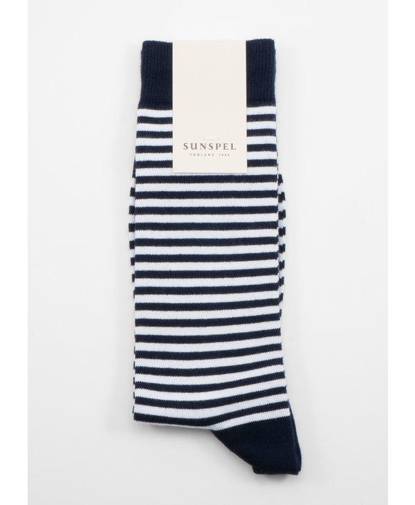 Navy Long Staple Cotton English Stripes socks