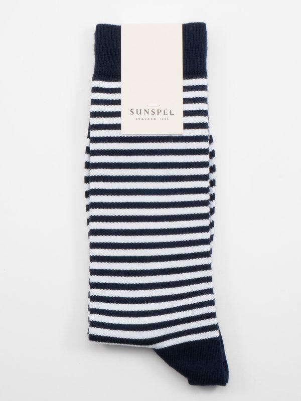 Sunspel Chaussettes longues en Coton à Rayure English Bleu Marine