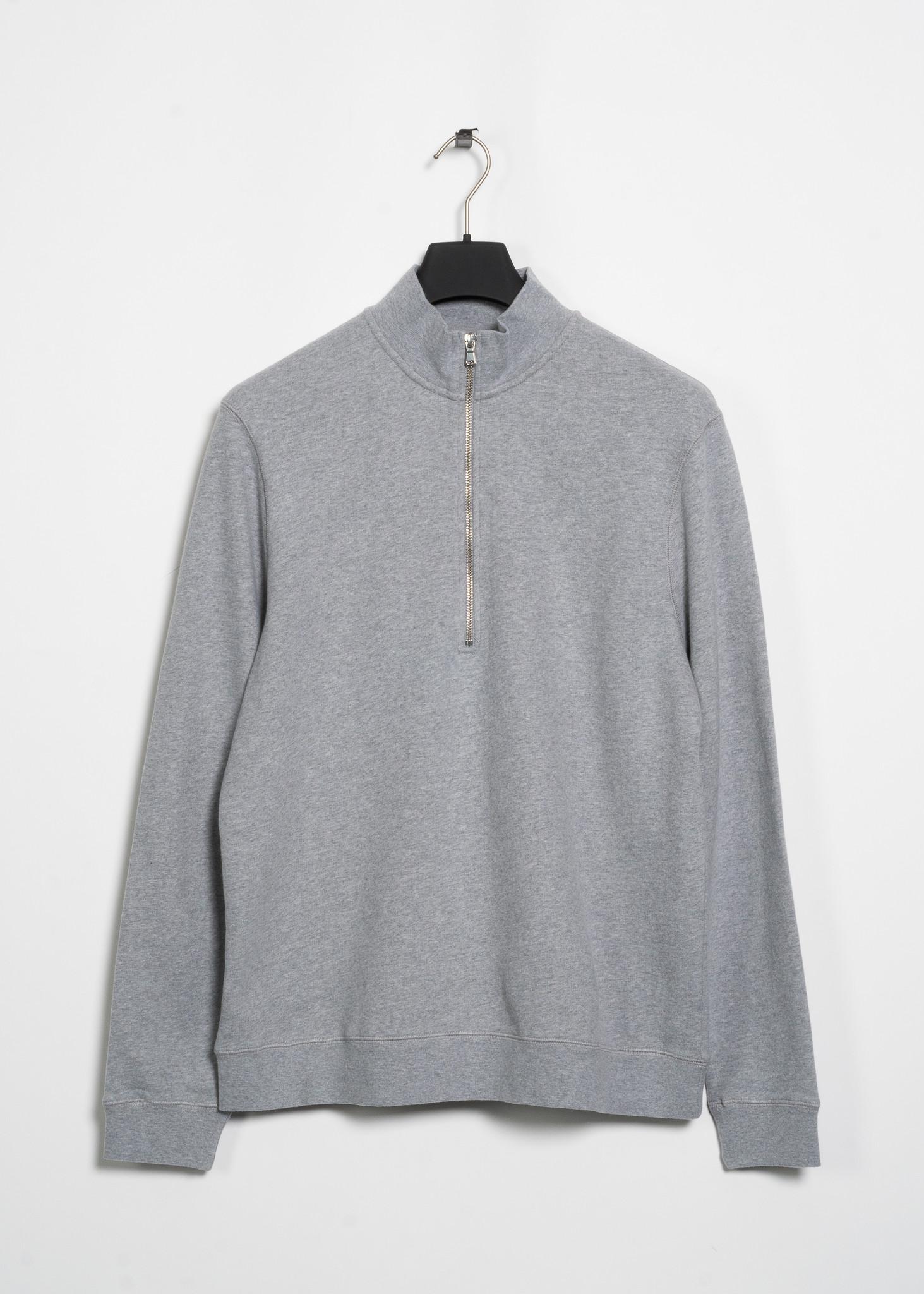 Grey Half-Zip Loopback Sweater
