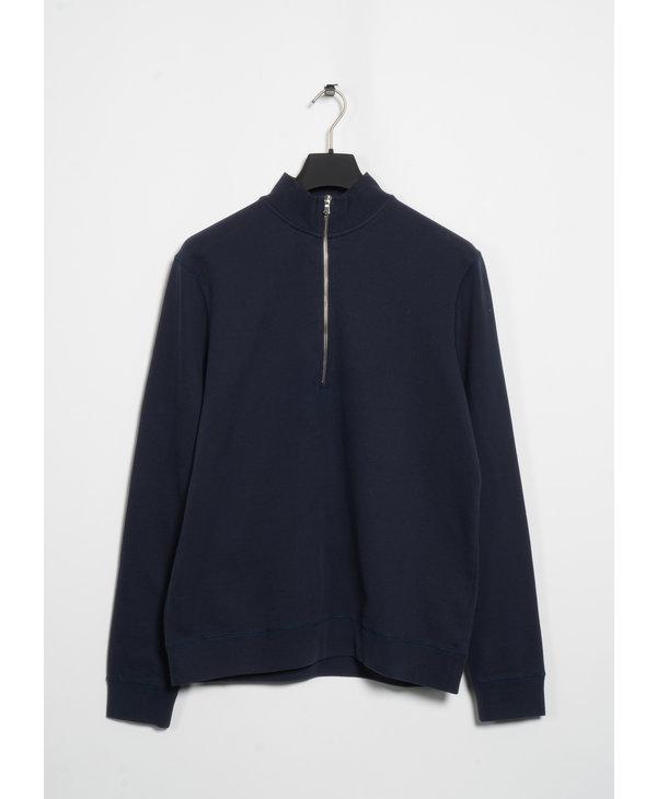 Navy Half-Zip Loopback Sweater
