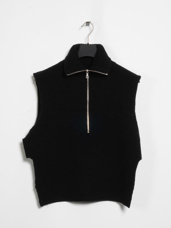 Dries Van Noten Black Front Zipped Tabard