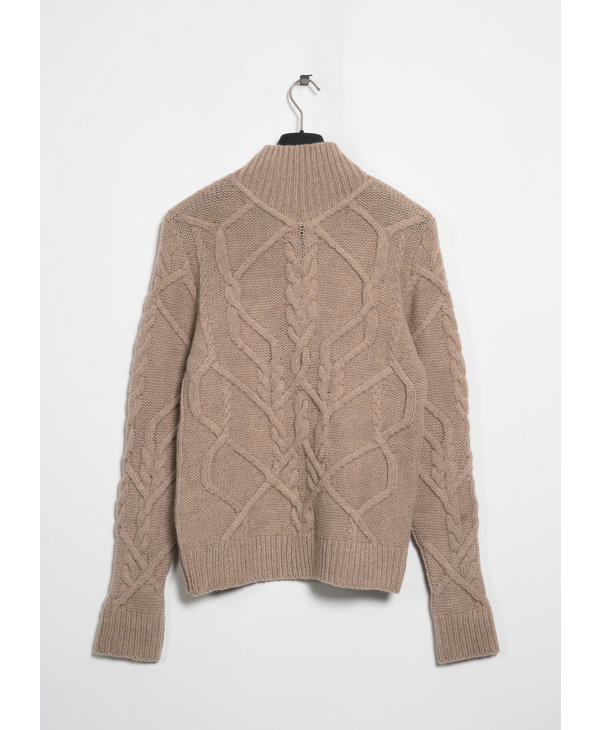 Beige Mock Neck Cable Knit Sweater