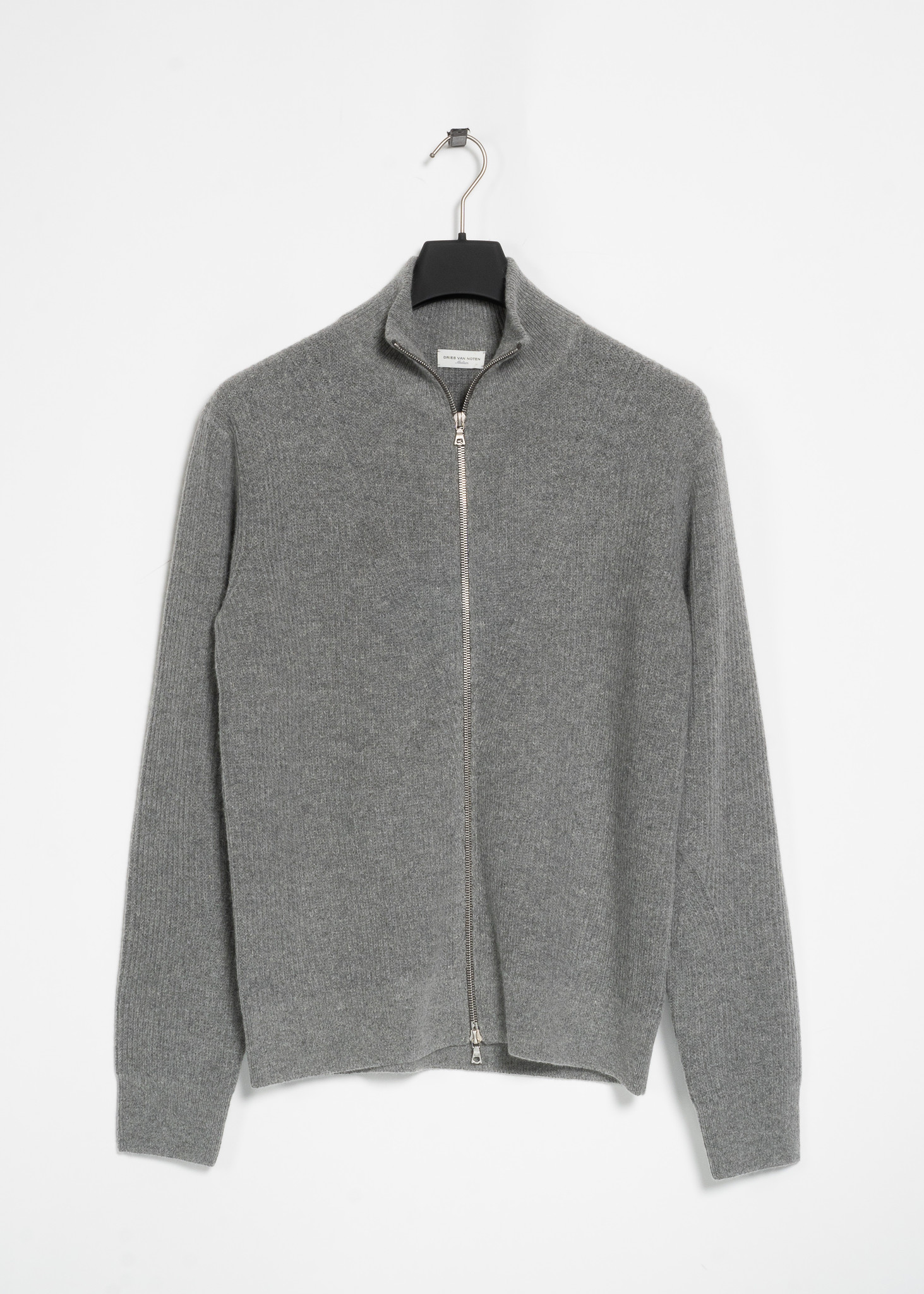 Grey Alpaca Wool Mock Neck Zip Sweater