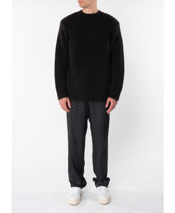 Pantalon à Taille Élastique Imprimé Noir