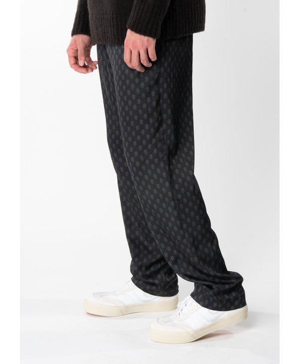 Black Print Elastic Waistband Pants