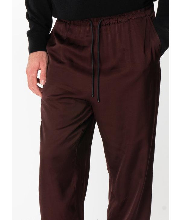 Burgundy Elastic Waistband Pants