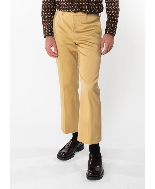 Pantalon Court Évasé Beige