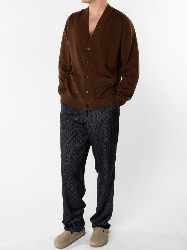 Dries Van Noten Brown Regular Fit Cardigan with Patch Pockets