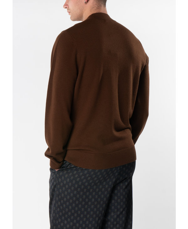 Brown Regular Fit Cardigan with Patch Pockets