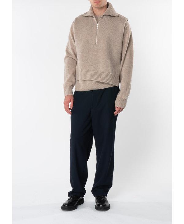 Beige Regular Fit Round Neck Sweater